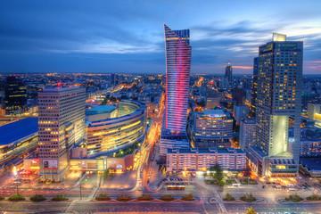 Warszawa wieczorna panorama miasta