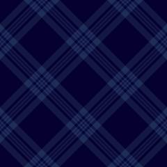 Dark blue tartan diagonal seamless pattern background