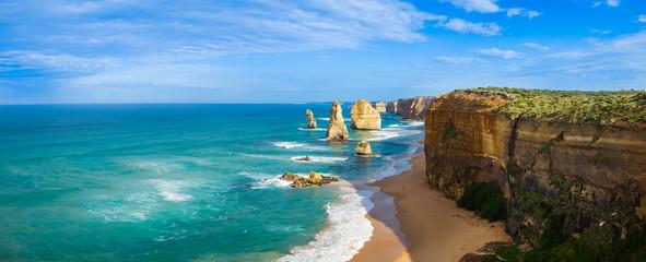 Panorama of the landmark Twelve Apostles along the famous Great Ocean Road, Victoria, Australia