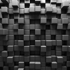 Dark Grey Cube Blocks Wall Background