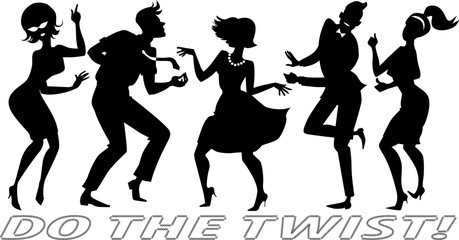 Black vector silhouettes of people dressed in vintage clothes, dancing the Twist, each figure on a separate layer, no white objects, EPS 8