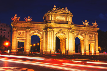 The Puerta de Alcala at night in Madrid