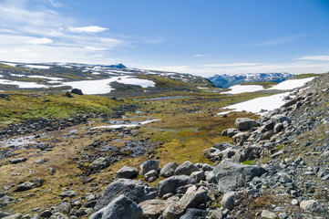 Lonely landscape of highland tundra, Norway
