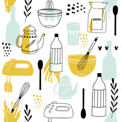 Vintage kitchen set in vector on white background.