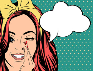 Pop Art illustration of girl with the speech bubble