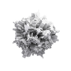 Abstract white digital 3d spheric object isolated