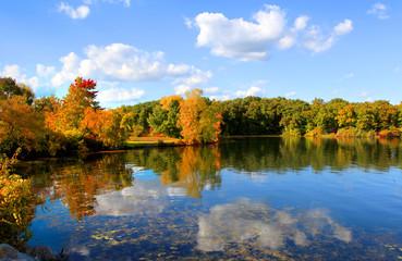 Autumn reflections in Kent lake Michigan