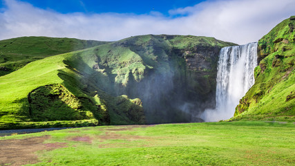 Spectacular Skogafoss waterfall in Iceland