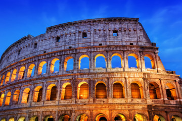 Colosseum in Rome, Italy. Amphitheatre illuminated at night