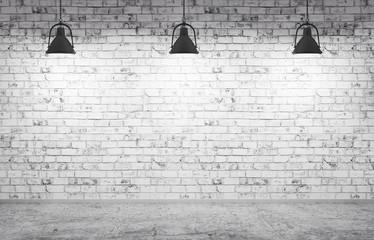 Ściana z cegieł, betonowa podłoga i lampy tło 3d, odpłacamy się