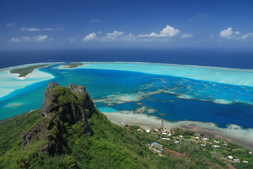 Panorama of Maupiti Island from the peak, French Plynesia