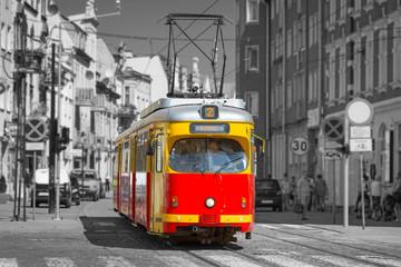 Old tram on the street of Grudziadz, Poland
