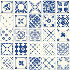 Indigo Blue Lisbon Paint Tile Floor Oriental Spain Azuejos Ornament Collection Seamless Patchwork Pattern Colorful Portugal Ceramic Tilework Vintage Illustration background Vector Pattern Azulejo