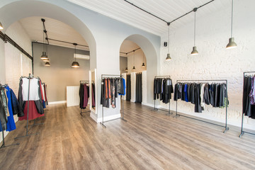 Interior of fashion clothing shop
