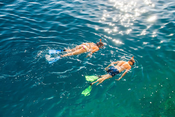 Two people snorkling in Adriatic Sea