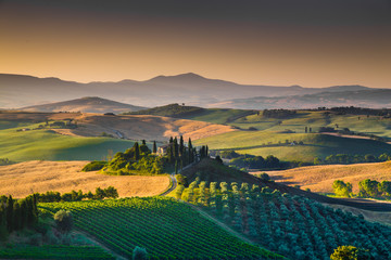 Scenic Tuscany landscape at sunrise, Val d'Orcia, Italy