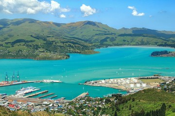 Busy harbor in summer, Christchurch, New Zealand