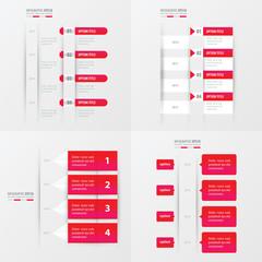 timeline design 4 item  pink gradient color