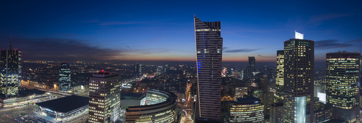 Panorama of Warsaw downtown during the night