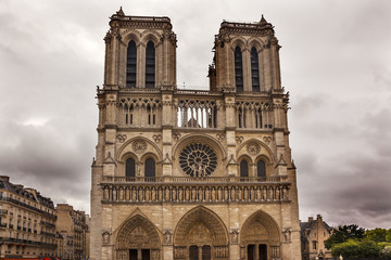 Facade Overcast Notre Dame Cathedral Paris France