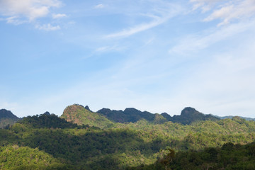 Forest-covered mountains around