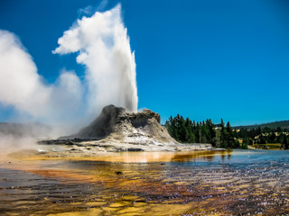 Castle Geyser Eruption Yellowstone