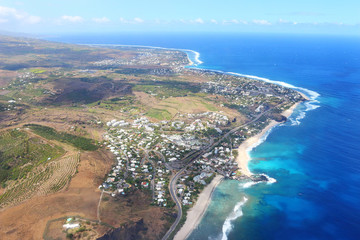 Aerial view to coral reef near Saint Paul village on Reunion Island.