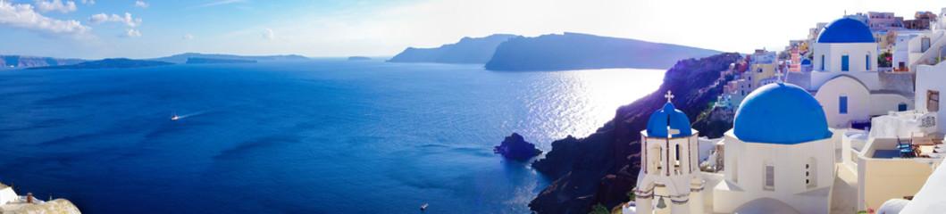 Panorama Oia wioska na Santorini, Grecja