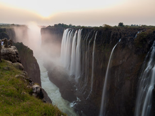 Victoria Falls sunset from Zambia side, silk water