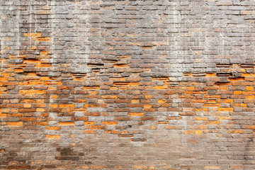 weathering and degradation old vintage brick wall