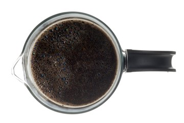 top view of a mug of black coffee