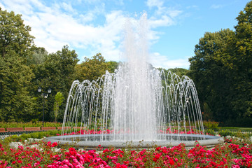 large fountain in a summer park