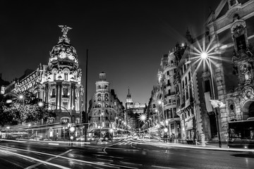 Gran Via w Madrycie, Hiszpania, Europa.