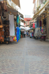 Traditional mediterranean street with goods.