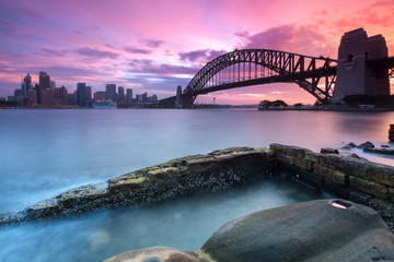 Sydney cityscape view at sunset