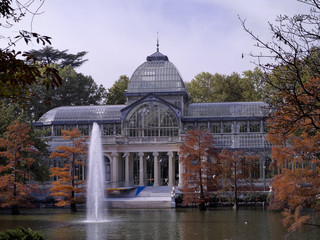 View of Crystal Palace, located in the Retiro Park in Madrid, Spain
