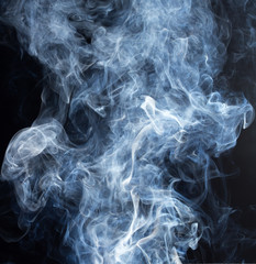 Smoke fragments on a black background