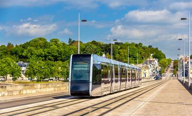 Wireless tram on Pont Wilson Bridge in Tours - France
