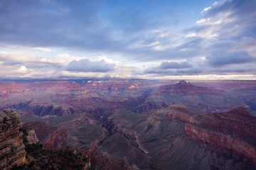 Scenic View Of Grand Canyon National Park at sunrise, Mater Point, Grand Canyon National Park, Arizona, USA.