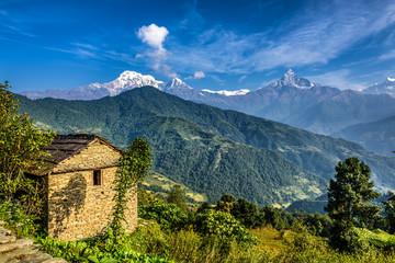 Himalaya mountains near Pokhara in Nepal