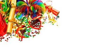 Serpentine, garlands, confetti. Carnival party decoration