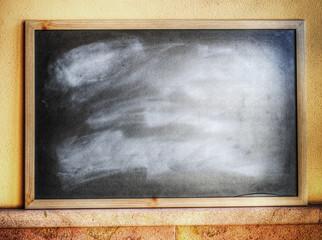 blackboard on a yellow wall