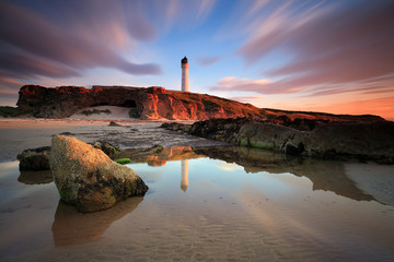 Great sunset in the Sea-light of Lossiemouth (Scotland)