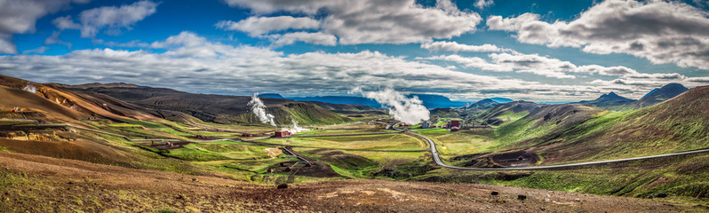 Panorama of geothermal power station in Iceland