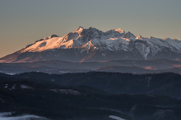 Tatra Mountains from Wysoka in Pieniny mountains, autumn morning