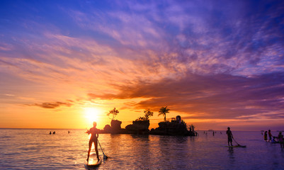 Bali Indonesia, beautiful sea beach at sunset