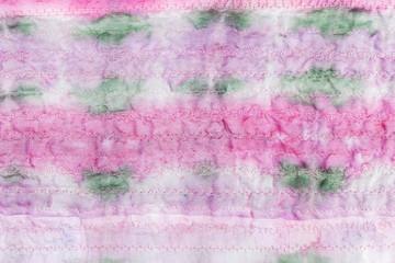 hand painted stitched pink silk batik