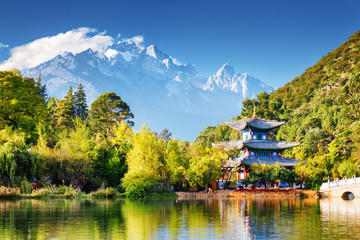 The Moon Embracing Pavilion and the Jade Dragon Snow Mountain