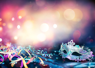 Carnival Mask, Streamers And Confetti For Festive Background
