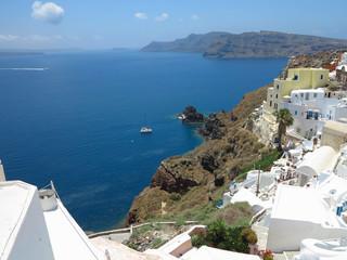 Romantic beautiful cityscape and blue sky of Oia on Santorini in